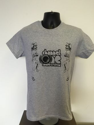 Channel One T-Shirt Skanking Figures - Gildan Cotton Grey/Black  (Various sizes)